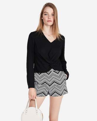 Express Super High Waisted Chevron Knit Pull-On Shorts