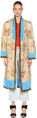 Etro Jacquard Kimono Coat W/ Lapin Fur Trim