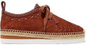 See by Chloe Leather-Trimmed Suede Platform Espadrille Sneakers