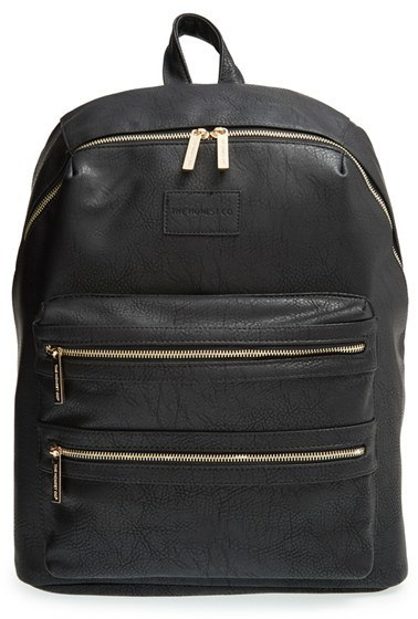Infant Girl's The Honest Company 'City' Faux Leather Diaper Backpack - Black