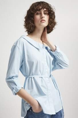 French Connection Serrana Stripe Tie Waist Shirt