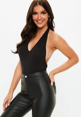 Missguided Black Deep Plunge Halter Bodysuit