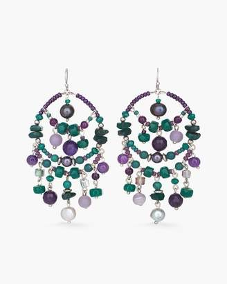 Chico's Chicos Green and Purple Chandelier-Hoop Earrings