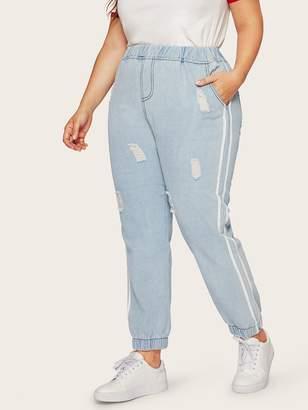 Shein Plus Elastic Waist Ripped Jeans