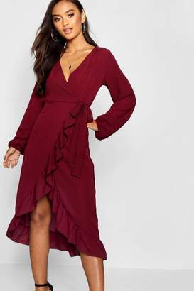 boohoo Petite Woven Wrap Midi Dress