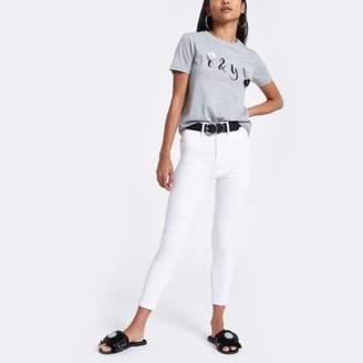 River Island Petite white Harper high waisted skinny jeans
