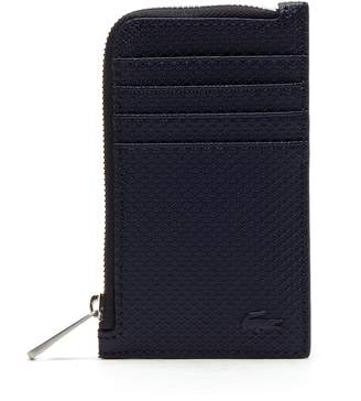 Lacoste Men's Chantaco Zippered Matte Pique Leather Card Holder