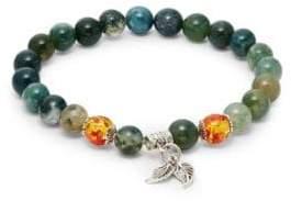Jean Claude Sterling Silver, Green Aventurine & Multi-Tone Obsidian Beaded Charm Bracelet