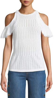 Jonathan Simkhai Lacy Crochet Cold-Shoulder Top