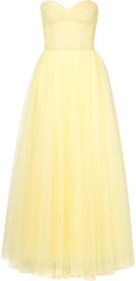 Monique Lhuillier Strapless Ruched Tulle Gown - Pastel yellow