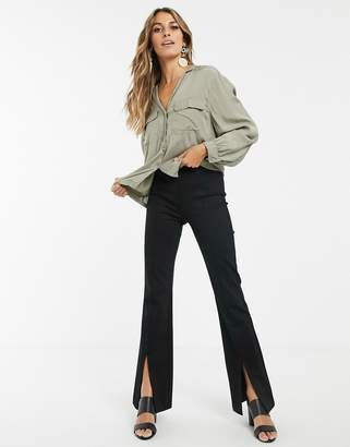 And other stories & split hem flared trousers in black