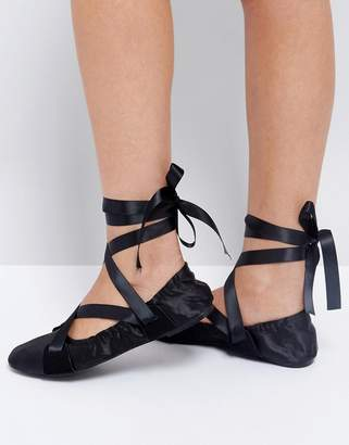 Lost Ink Black Ribbon Tie Ballet Shoes