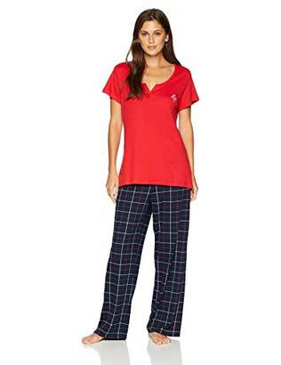 Tommy Hilfiger Women's Short Sleeve Tee and Basic Cotton Logo Pant Pajama Set,L