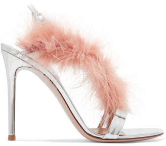 Gianvito Rossi 105 Feather-trimmed Mirrored-leather Slingback Sandals - Baby pink