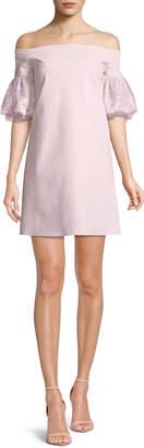 Chiara Boni Joelle Lace-Sleeve Mini Cocktail Dress