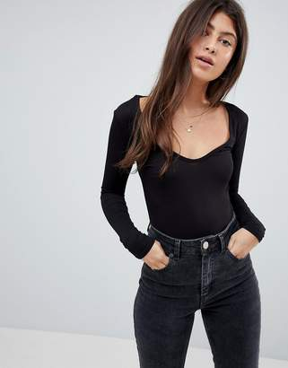boohoo Long Sleeve V Neck Body