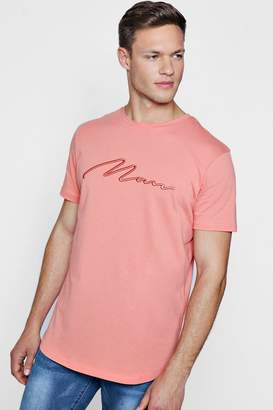 boohoo Curve Hem Longline MAN Embroidered T-Shirt