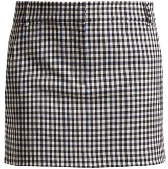 Tibi Gingham Mini Skirt - Womens - Black White