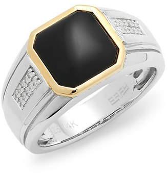 Effy 14K & Silver Diamond & Onyx Ring