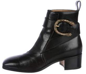 Gucci Dionysus Square-Toe Leather Boots