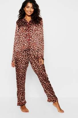 boohoo Leopard Satin Contrast Button Down PJ Set
