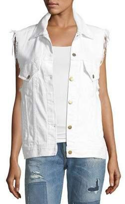 Acynetic Patti Raw-Edge Button-Front Denim Vest