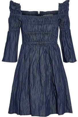 Sea Shirred Chambray Mini Dress