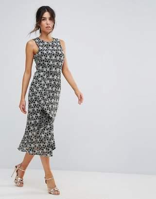 Warehouse Monochrome Lace Dress