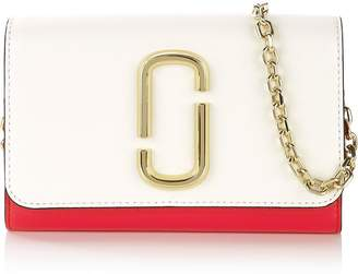 Marc Jacobs Snapshot Chain Strap Wallet- White/Red