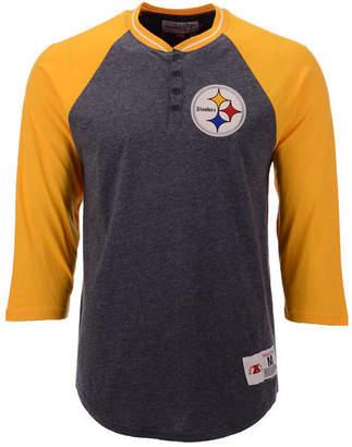 Mitchell & Ness Men's Pittsburgh Steelers Four Button Henley T-Shirt