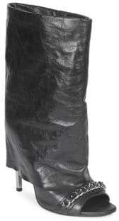 Balmain Leather Demi Foldover Booties