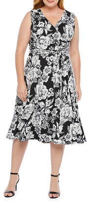 Tiana B Sleeveless Floral Wrap Dress-Plus