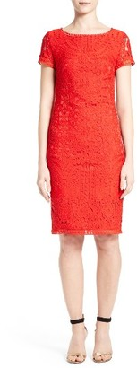Women's St. John Collection Embroidered Lace Sheath Dress $1,295 thestylecure.com