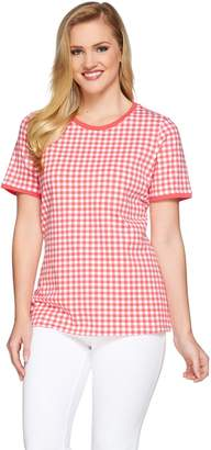 Denim & Co. Gingham Printed Short Sleeve Knit Top