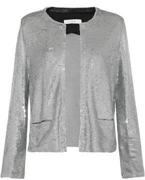 IRO Frayed Sequined Jersey Jacket