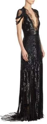 Monique Lhuillier Embroidered Fringe-Skirt Gown