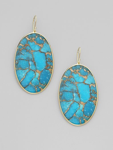 Ippolita Turquoise & 18K Gold Oval Drop Earrings