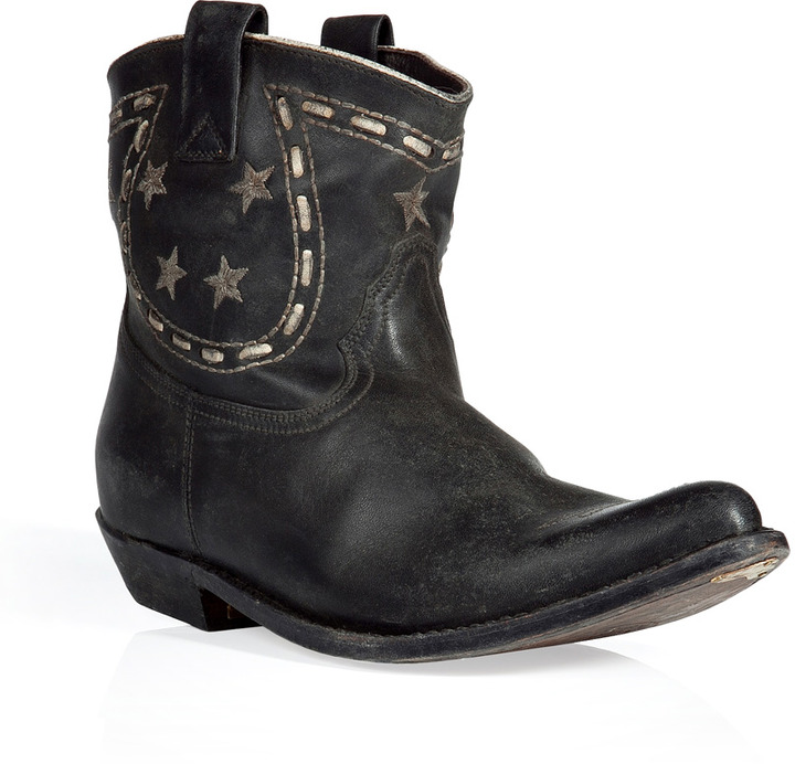 Golden Goose Black Embroidered Ankle Boots