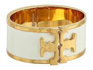 Tory Burch Enamel Raised Logo Wide Cuff Bracelet