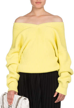 Balenciaga Ribbed Knit Off-Shoulder Sweater