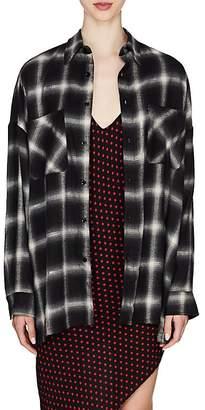 Amiri Women's Metallic Plaid Flannel Oversized Shirt