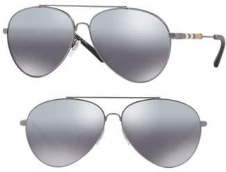 Burberry Heritage Check 60mm Polarized Metal Aviator Sunglasses
