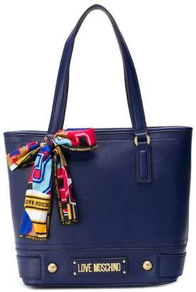 Love Moschino scarf detail shopper tote