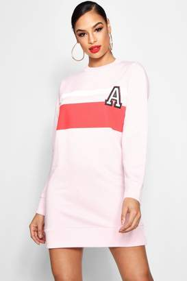 boohoo Varsity Print Colour Block Sweat Dress