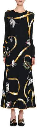 Marni Charm-Print Long-Sleeve Button-Back Ankle-Length Woven Dress