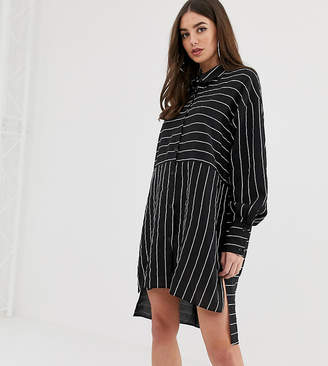 Missguided Tall striped shirt dress in multi