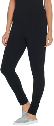 Denim & Co. Petite Active Pull-on Knit Leggings with Ruched Detail