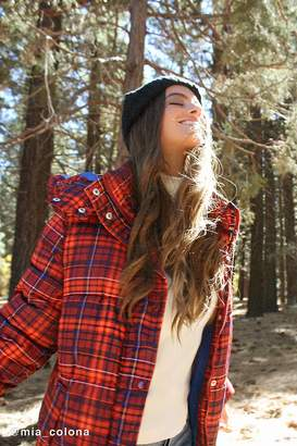 Urban Outfitters Riley Plaid Hooded Puffer Jacket