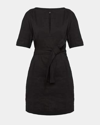 Theory Organic Crunch Linen Belted Shift Dress