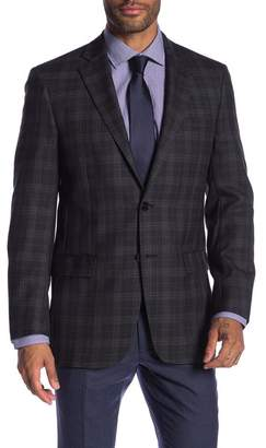 Hart Schaffner Marx Dark Grey Plaid Two Button Notch Lapel Wool Classic Fit Blazer